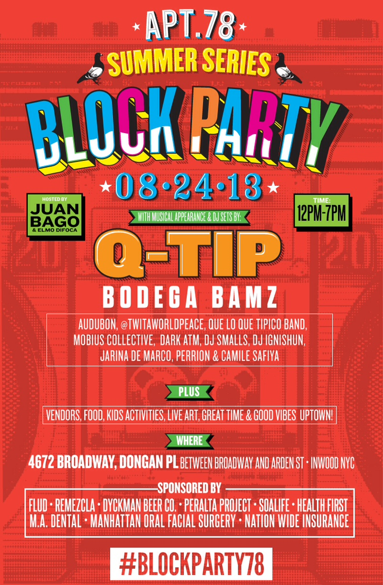 today word up apt 78 summer series block party with q tip juan bago and more word up books. Black Bedroom Furniture Sets. Home Design Ideas
